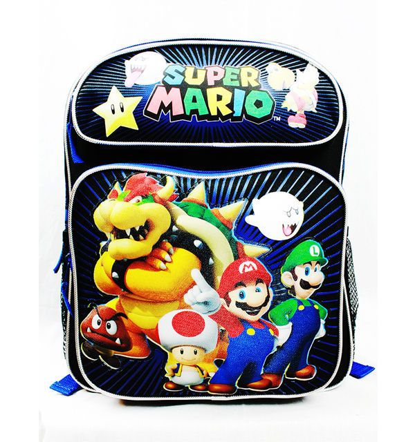 "Nintendo Super Mario Boys School Bag Medium Size Book Bag Backpack Tote 14"" NEW  #Nickelodeon #Backpack"
