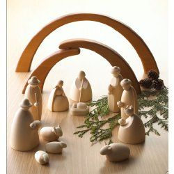 Modern All-wood Nativity Scene