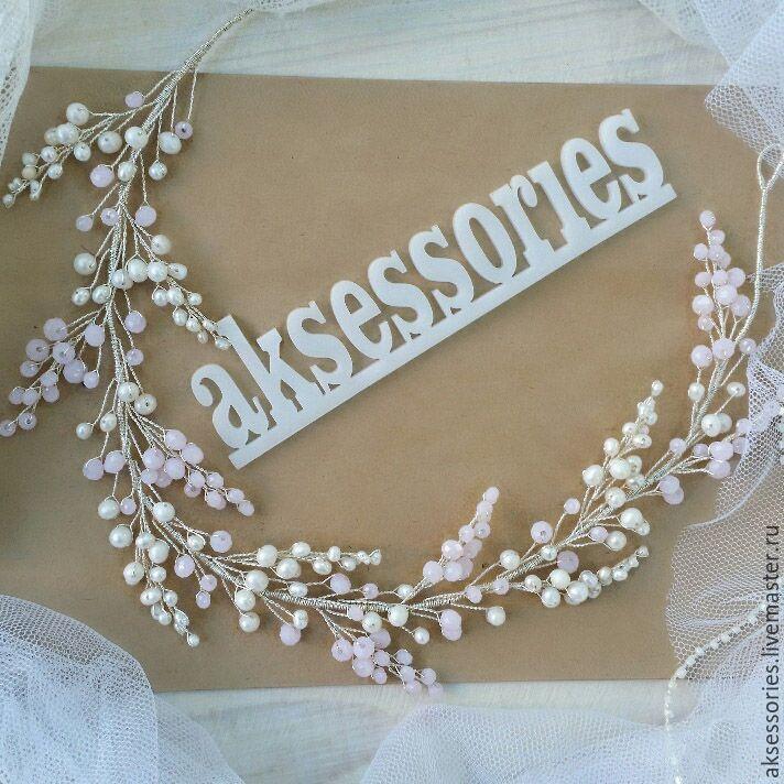 Купить Свадебный ободок Свадебное украшение, Свадебный венок - бледно-розовый, венок, украшение для волос