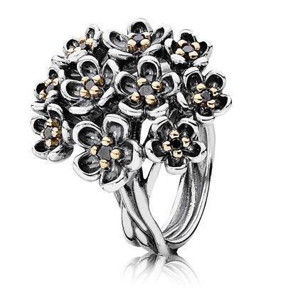 Pandora Black Spinel Bouquet Ring
