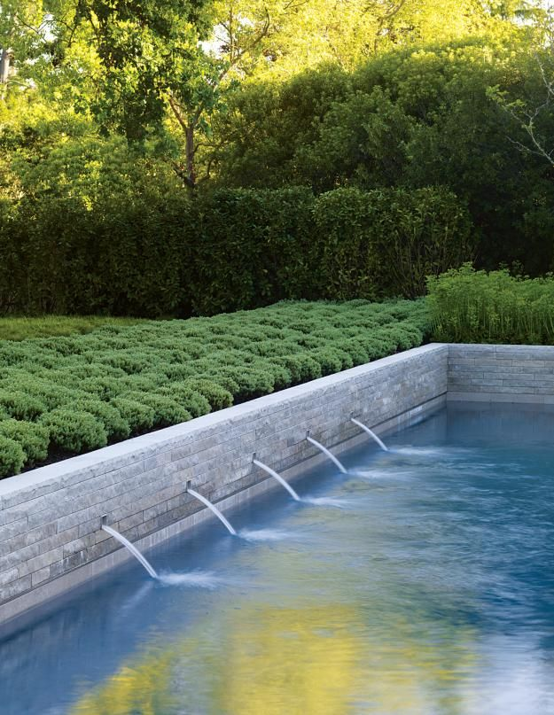 Water feature into pool