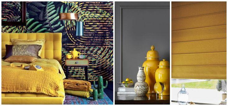 Haal de zomer in huis met de trendkleur geel - Luxaflex | Foto: Slaapkamer van marieclairemaison.com, gele vazen via biggerluxury.com, Roman Shades Luxaflex®