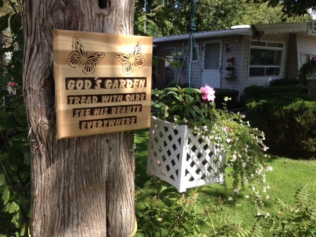 Custom plaque created for a priest's garden at his cottage