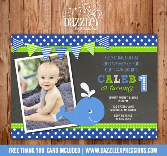 Printable Chalkboard Preppy Whale Birthday Photo Invitation | Under the Sea | Boy First Birthday Party Idea | DIY | Digital File | FREE Thank You Card Included | Matching Party Package Available! Banner | Cupcake Toppers | Favor Tag | Food and Drink Labels | Signs |  Candy Bar Wrapper | www.dazzleexpressions.com