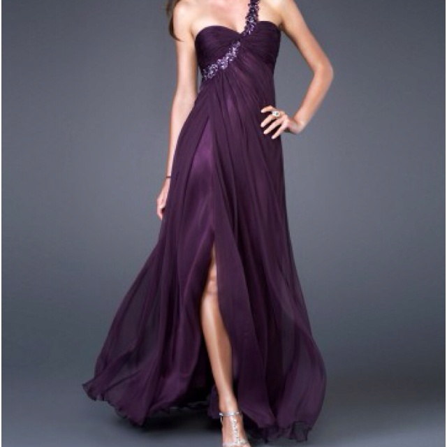 One Shoulder Flowy Plum Prom Dress Plum Dresses