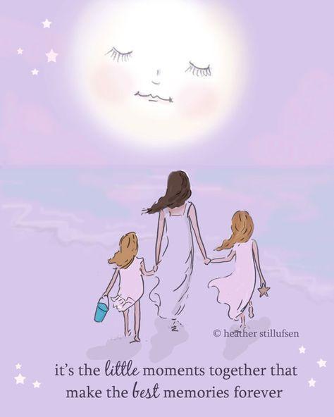 Mejores recuerdos juntos – madre e hija – arte para mamás – inspiración de arte para mujeres – arte para habitaciones de niñas