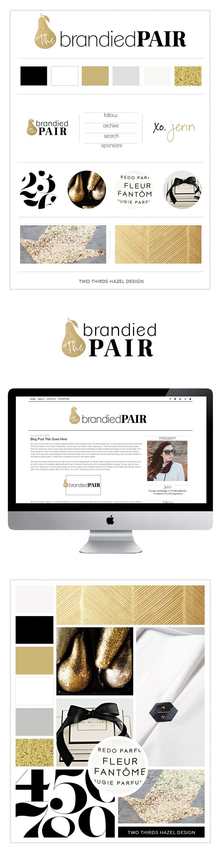 Gold and black blog design. Girly branding. Mood board. Gold glitter. Website design. Two Thirds Hazel Design.