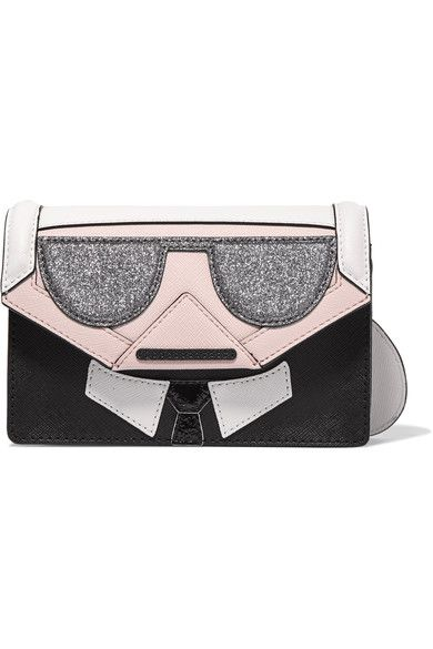 Multicolored leather and faux textured-leather Magnet-fastening front flap Weighs approximately 1.8lbs/ 0.8kg Imported