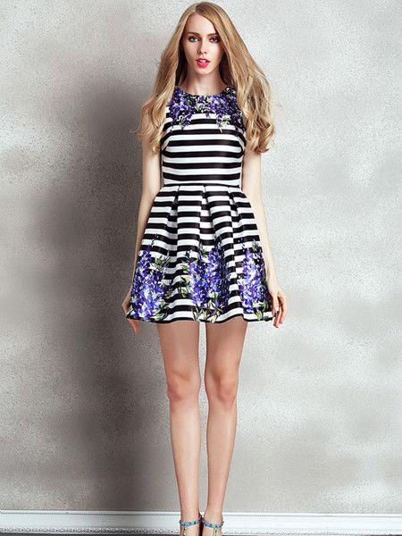 Stripe Printed Fashion Mini Dress #stylewe #chic #women