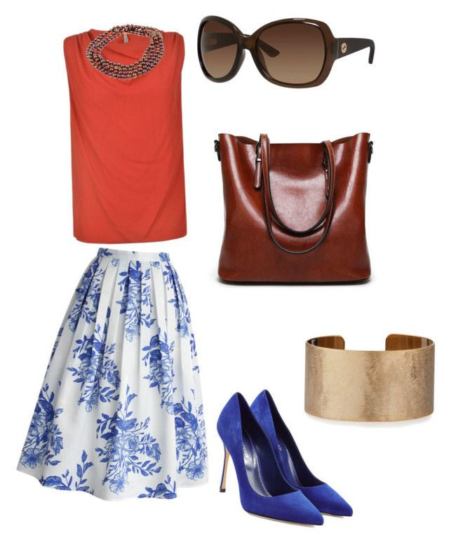 """""""Skirt 50's"""" by marie-polachova on Polyvore featuring Chicwish, Sergio Rossi, BOSS Orange, DaVonna, Gucci and Panacea"""