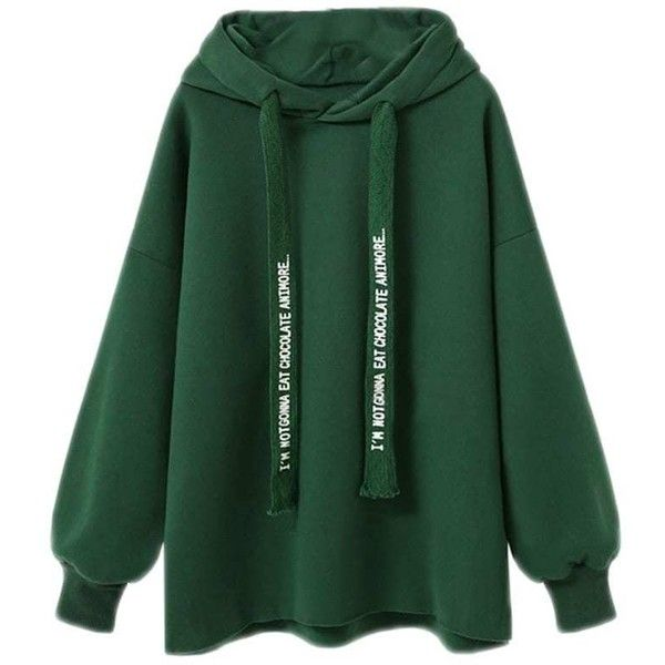 Lady'S Loose Hoodie ($19) ❤ liked on Polyvore featuring tops, hoodies, sweaters, loose fitting tops, hooded sweatshirt, green hooded sweatshirt, green top and loose fit tops