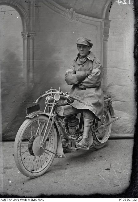 Signals Rider on Despatch Motorcycle c.1916-1918 Australian War Memorial
