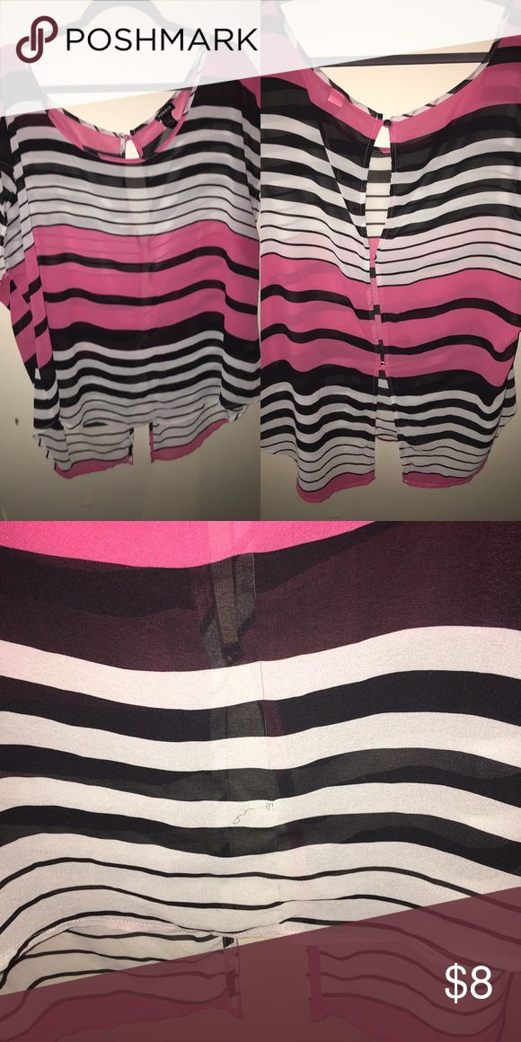 Pink, black , white top Comfy chic georgette material shirt . Cute open back. Has a run 😞 torrid Tops Blouses