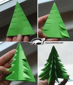 Papier-Bäumchen ⭐️ Paper-Trees ( Mehrere Lagen grünes dreieckiges Papier an den Seiten einschneiden, umklappen, mittig falten und rund arrengieren)