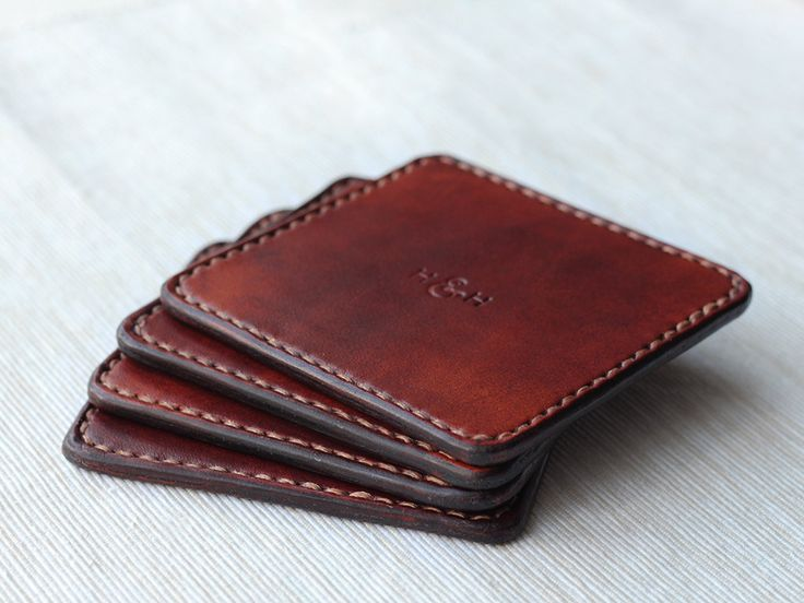 Luxury Leather Coaster Set in Distressed Antique Brown by HideAndHome on Etsy