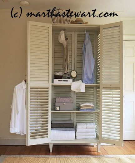 From Martha Stewart reusing large shutters to create an indoor closet. Would be great for the bathroom or laundry room. Did not find instruction
