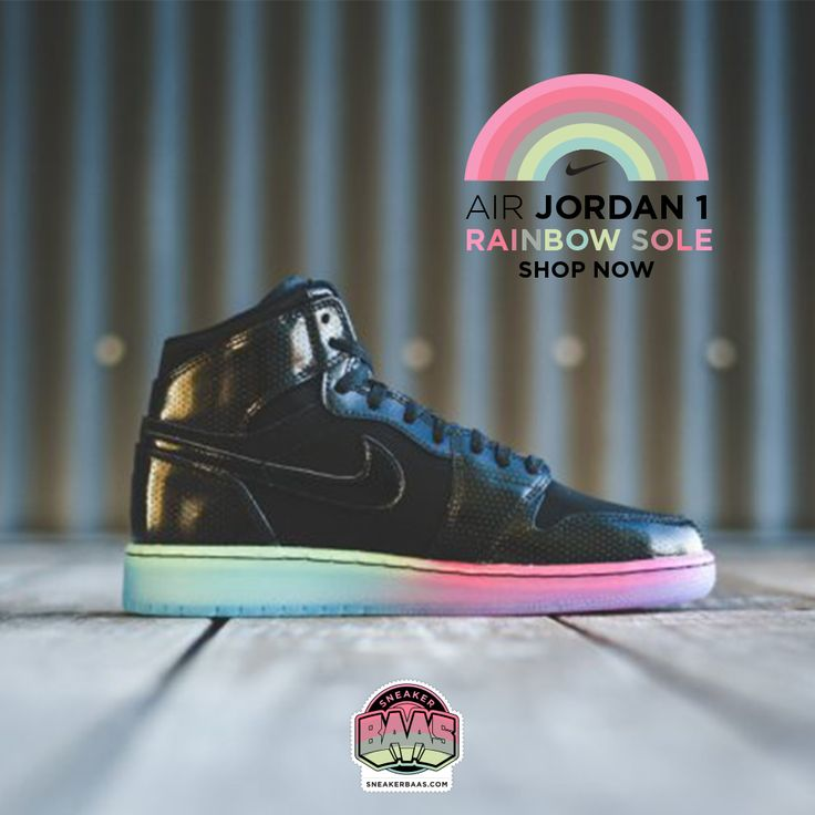 "#jordan #nike #air #jordan1 #rainbow #sneakerbaas #baasbovenbaas  Air Jordan 1 Retro GS ""Rainbow Sole"" - Available online now, priced at € 89,95 - Size 35.5 - 43 EU  For more info about your order please send an e-mail to webshop #sneakerbaas.com!"