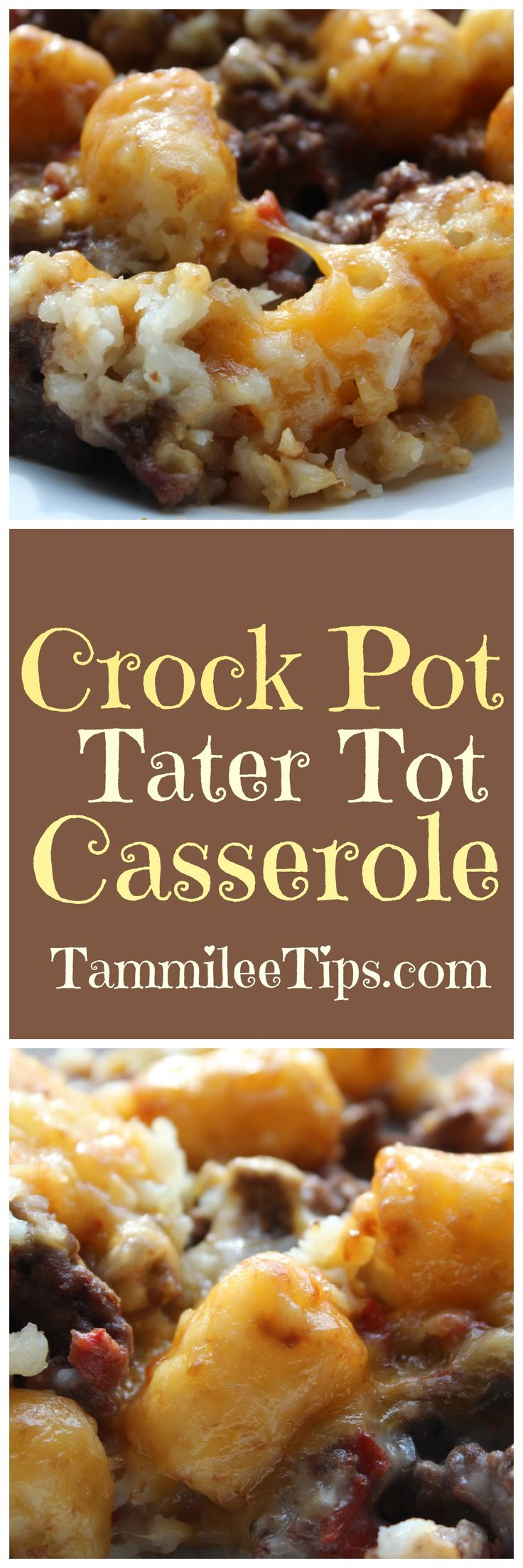 Super easy Crock Pot Tater Tot Casserole made with ground beef is a great family…