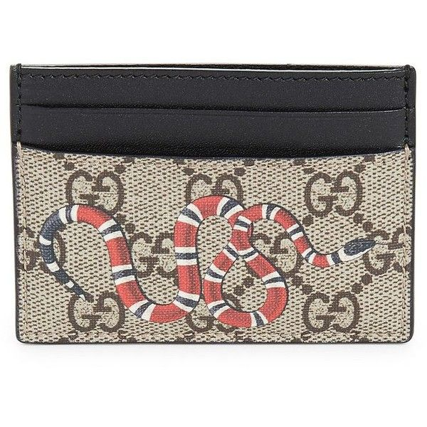 Gucci GG Snake Card Case ($270) ❤ liked on Polyvore featuring men's fashion, men's bags, men's wallets, apparel & accessories, beige multicolor, mens card case wallet, mens canvas wallet, gucci mens wallet and mens card holder wallet