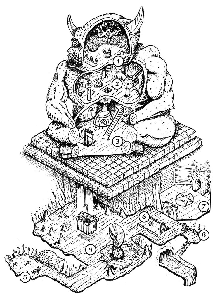 Dungeons and Dragons Old School Win  thevicariousgeek:  Jobe Bittman's 2013One Page DungeontitledInto The Demon Idol. A PDF with details about each section can be found on his website.  A cool reinterpretation of Trampier's demon idol, putting the dungeon inside the idol instead of vice versa.