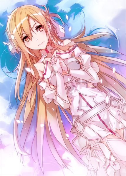 i hope this is what her wedding dress looks like. the music for her walking down the eisel should be sao 1 ending 1 yasssss