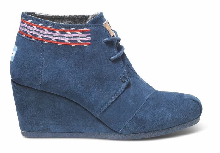 Navy  Embroidered Desert Wedges
