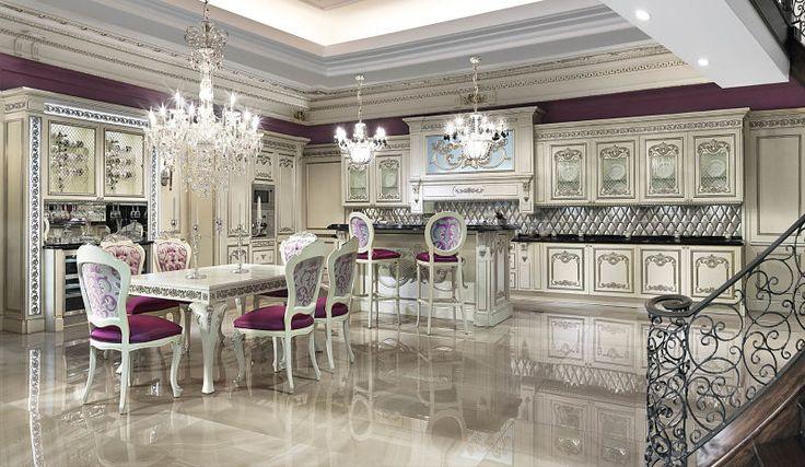 Kolekcja Hermitage stanowi dzieło sztuki kuchennego meblarstwa w stylistyce rosyjskiego baroku. Meble kuchenne wyposażone są w rzeźby z litego drewna lakierowanego oraz patynowanego ręcznie. Ozdobienie srebrem płatkowym podkreśla bogactwo oraz luksus mebli z tej kolekcji.