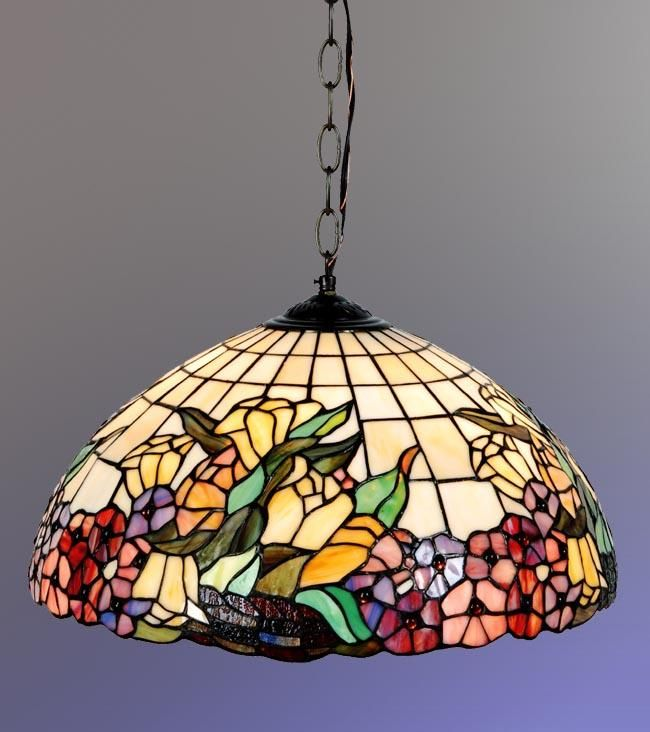 Beautiful Floral Tiffany Style Hanging Lamp.