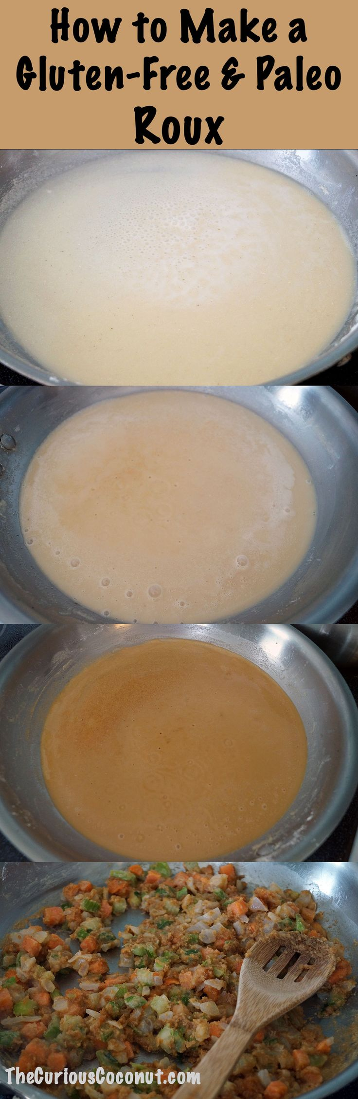 How to make a gluten-free roux to thicken soups, sauces, gravies and more! Also suitable for AIP and Paleo diets.  // TheCuriousCoconut.com