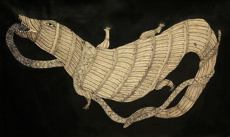 DRAGON BY JANGARH SINGH SHYAM INDIAN TRIBAL ART(GOND)