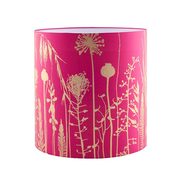 Clarissa Hulse - Seed Heads Standard Lamp Shade - Hot Pink/Antique Gold