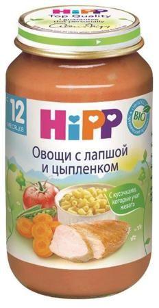 Пюре Hipp (Хипп) Овощная смесь с лапшой и цыпленком, 220 г. с 12 мес.  — 101р.  Меню, содержащие орагническое мясо, вносят важный вклад в снабжение Вашего ребенка ценными белками и натуральным железом. Они учитывают тот большой скачок в развитии, который сделал Ваш ребенок в первый год своей жизни, и содержат более крупные кусочки