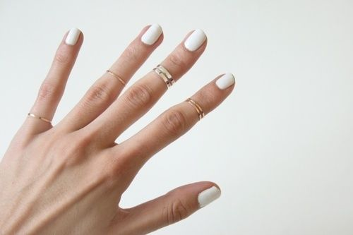 Clean and short white #manicure - so chic.
