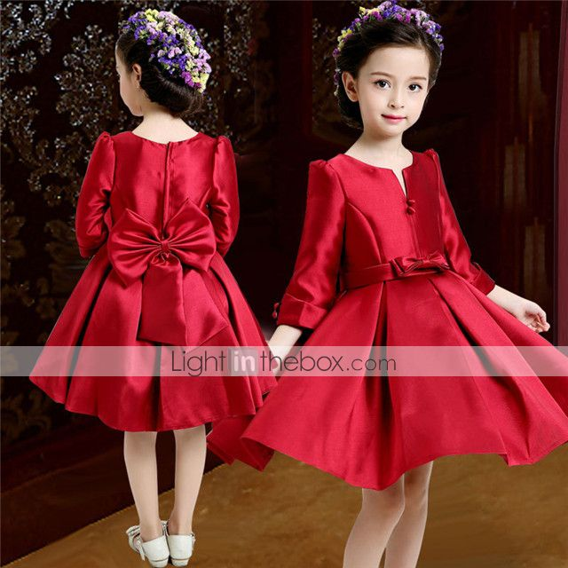 A-line Knee-length Flower Girl Dress - Satin 3/4 Length Sleeve V-neck with