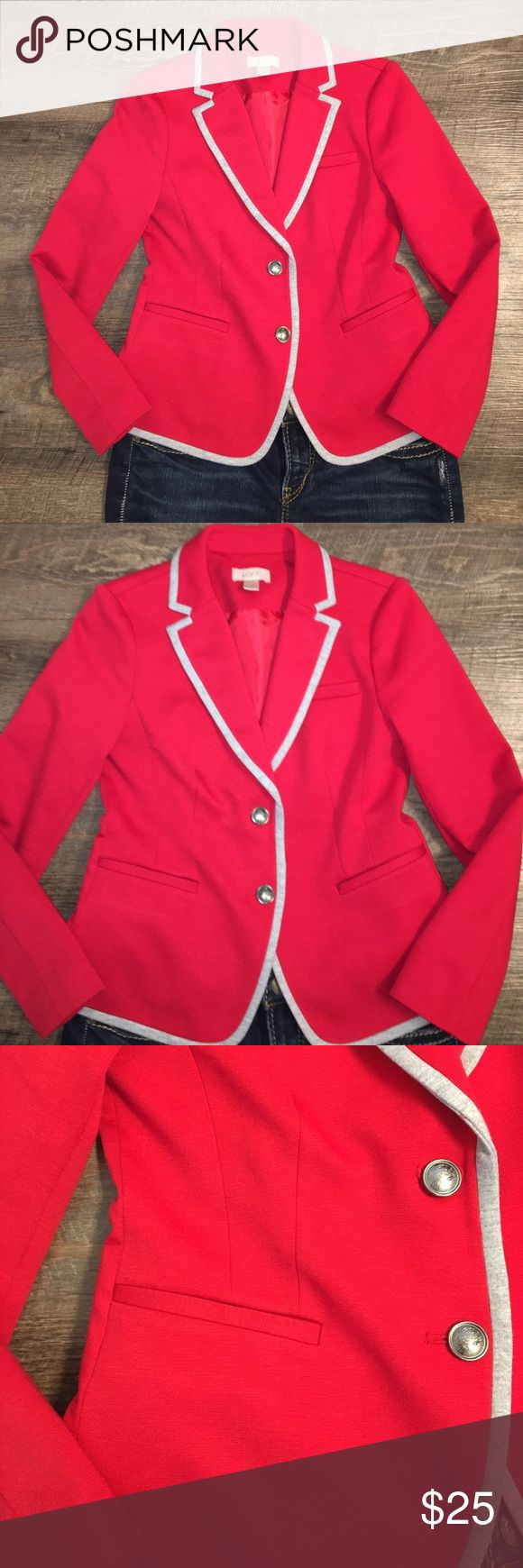 """Ann Taylor Loft Red w/Gray Trim Blazer Size 0 Ann Taylor Loft Red w/Gray Trim Blazer Size 0 EUC, fully lined.  Two button closure, 22 1/4"""" sleeve, 17"""" from armpit to armpit, 20 1/4"""" from top seam to bottom.  Extremely cute and is so fun to wear with jeans and a white t-shirt and heels or to dress up with a black LBD.  Have fun with this blazer! Smoke free, pet free home. LOFT Jackets & Coats Blazers"""