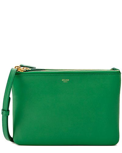 CELINE \u0026quot;Trio\u0026quot; Large Leather Crossbody Bag | P.S.- Lean Mean Green ...