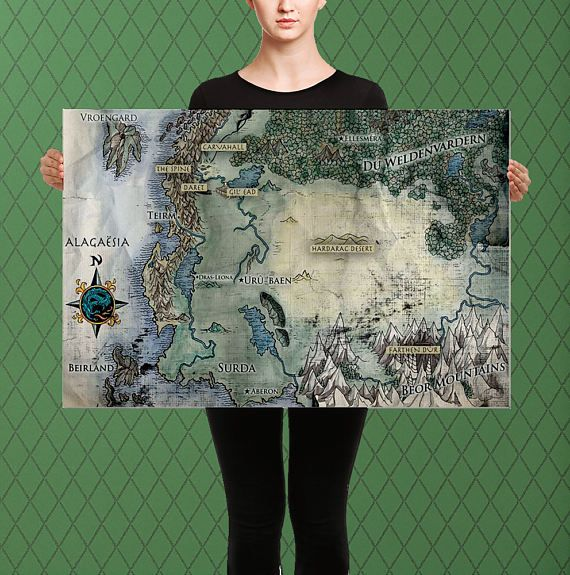 Complete Map of Alagaesia, Eragon Inheritance Cycle Inspired, Custom Raised Canvas