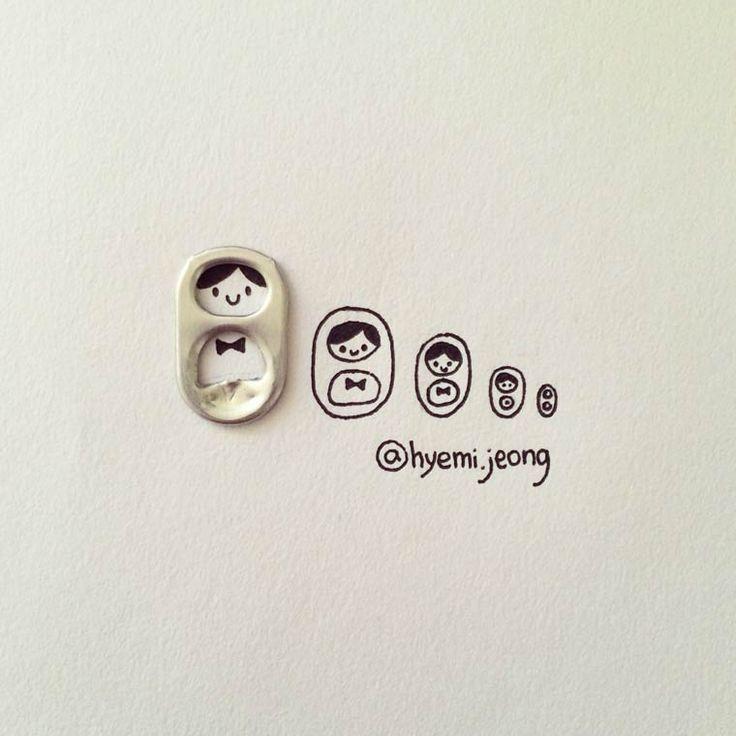 Les adorables créations de l'illustratrice canadienne Hyemi Jeong, basée à Toronto, qui détourne les petits objets du quotidien grâce à des illustrations