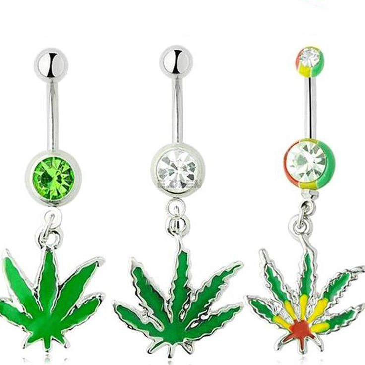 Sexy rhinestone ball green leaf medical stainless steel navel piercing rings piercing jewelry navel free shipping
