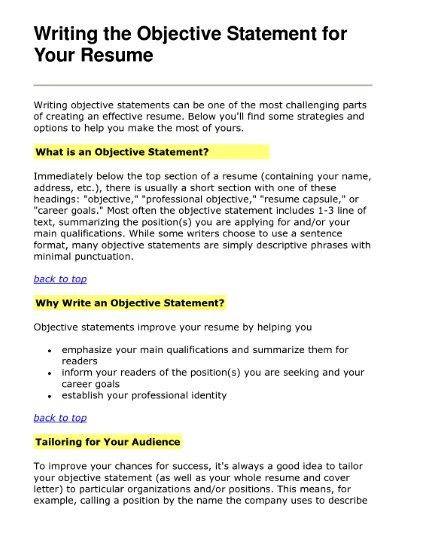 Effective Objective Statements For Resumes