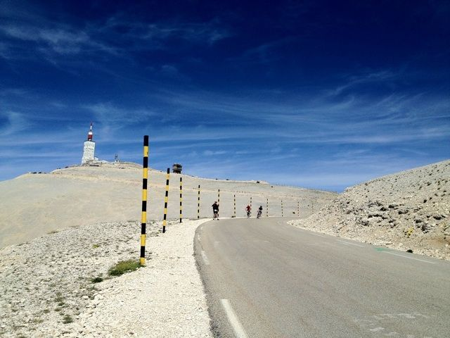 The road to the top of Mont Ventoux under a clear blue sky