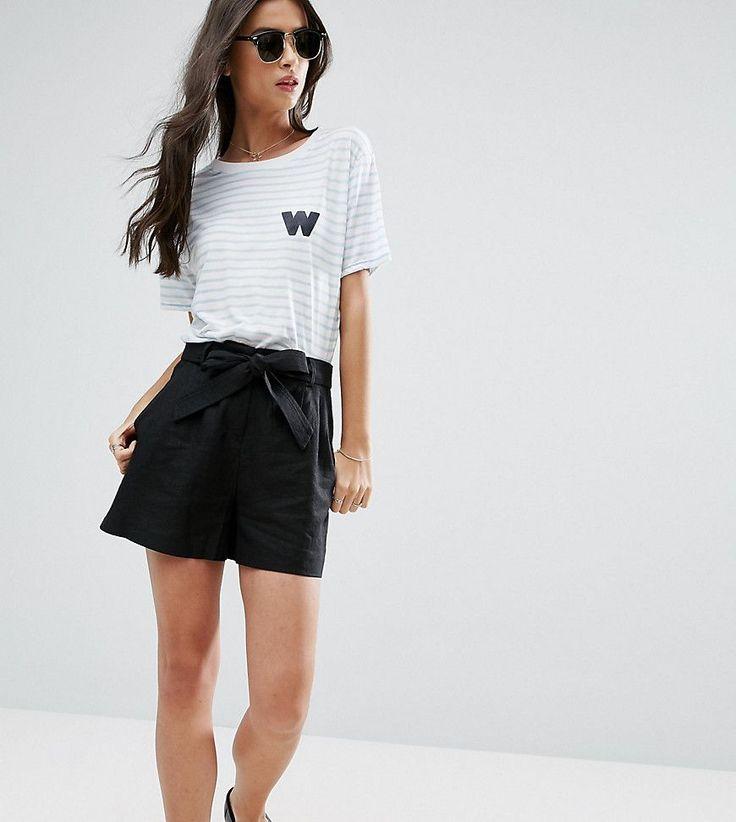ASOS PETITE Belted Linen Short - Black