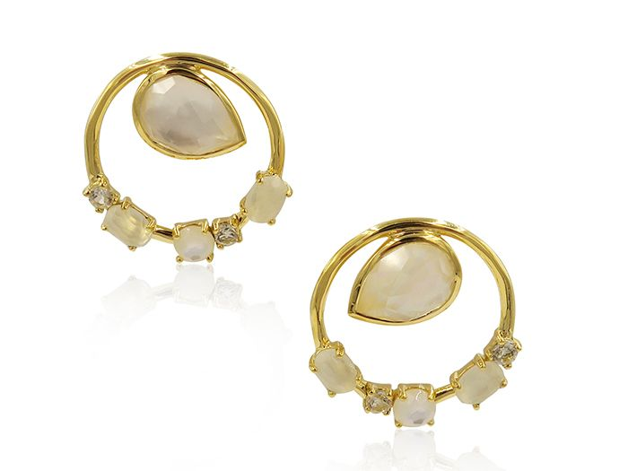 Ippolita 18K Yellow Gold Rock Candy Multi Stone Wire Circle with Pear Shaped Stone Flirt Earrings, Featuring Clear Quartz, Mother of Pearl and White Moonstone