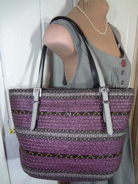 Eric Javits Straw Handbag Multi 14 X 9 New Tag PLUM With BLACK + GRAY Tote Bag. Get one of the hottest styles of the season! The Eric Javits Straw Handbag Multi 14 X 9 New Tag PLUM With BLACK + GRAY Tote Bag is a top 10 member favorite on Tradesy. Save on yours before they're sold out!