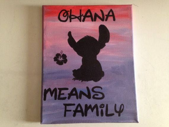 Disney Ohana Means Family painted on canvas.