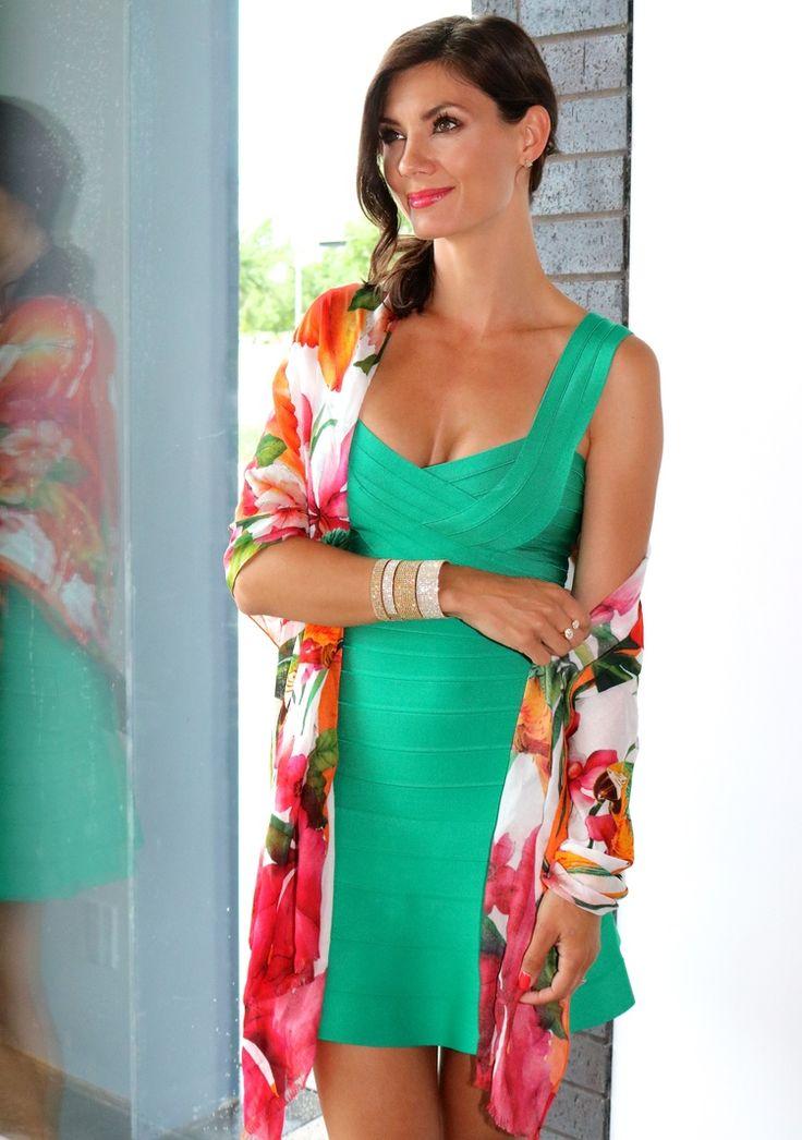 Hervé Leger Green Opal Dress // Ted Baker Scarf // 10 Row Bangle & 5 Row Bangle // Liberté