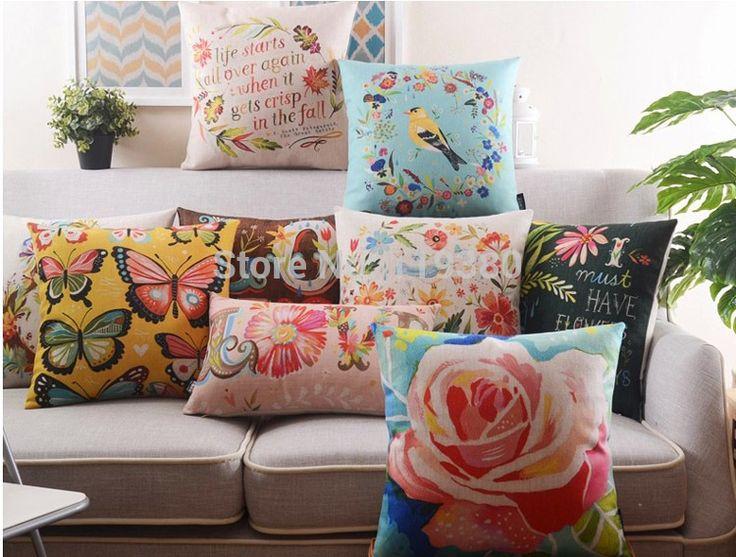 """18 """" pássaros e flores de algodão de linho capa de almofada Ikea Pastoral sofá cadeira carro casa decorativo jogar travesseiro fronha almofadas alishoppbrasil"""