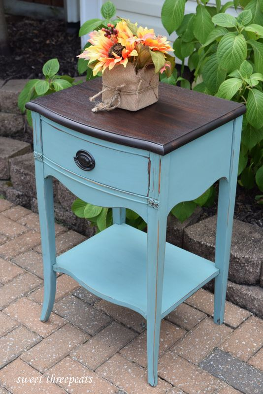 Annie Sloan Provence Chalk Paint night stand. www.facebook.com/sweetthreepeats www.sweetthreepeats.com