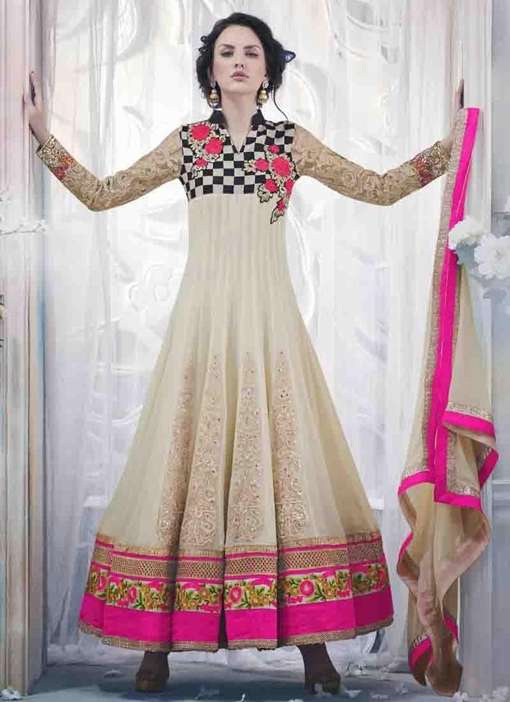 Off White Colour Georgette and Chiffon Designer Anarkali Suit