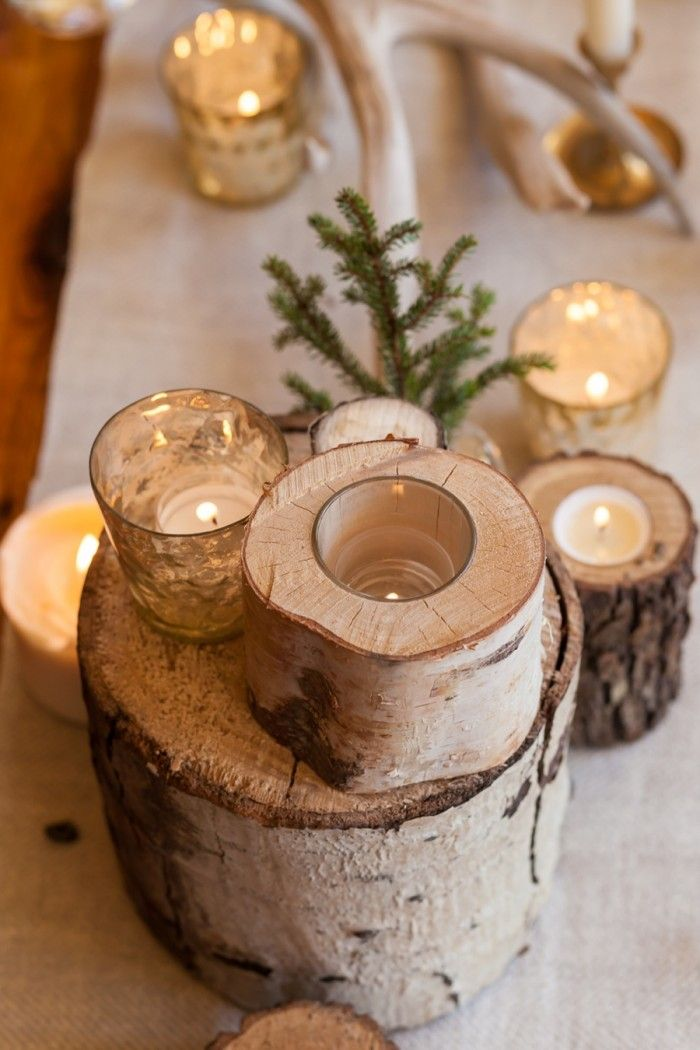 Ski Wedding Inspiration at Breckenridge Nordic Center - winter mountain wedding - tree stump candles centerpiece